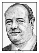 Theater Drawings Metal Prints - James Gandolfini in 2007 Metal Print by J McCombie