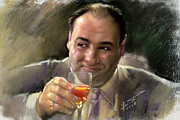 Gangster Drawings - James Gandolfini by Viola El