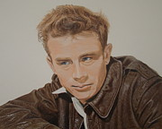 James Dean Drawings Posters - James Poster by Gary Fernandez