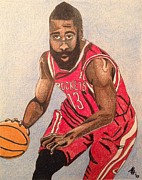 Nba Drawings Posters - James Harden 2013 Poster by Mark Hutton