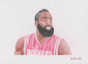 Blake Drawings - James Harden by Toni Jaso