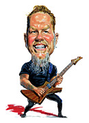 Metallica Painting Framed Prints - James Hetfield Framed Print by Art
