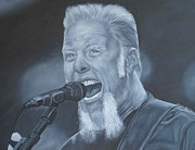 Metallica Painting Framed Prints - James Hetfield Framed Print by David Dunne