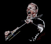 Roll Pastels Framed Prints - James Hetfield Framed Print by Kenneth  Williams