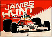 Evan DeCiren Art - James Hunt - F1 1977 by Evan DeCiren