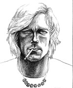 Diane Fine Drawings - James Hunt by Diane Fine