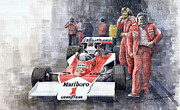Watercolor  Paintings - James Hunt Monaco GP 1977 McLaren M23 by Yuriy Shevchuk