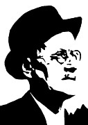 Novelist Paintings - James Joyce famous Irish writer by Monofaces