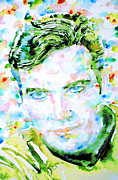 Enterprise Painting Prints - JAMES T. KIRK - watercolor portrait Print by Fabrizio Cassetta