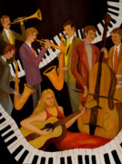 Acoustic Guitar Paintings - Jamin with the Lady in Red by Larry Martin