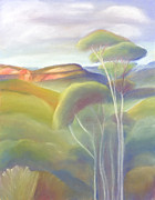 Soul Pastels Prints - Jamison Valley Blue Mountains national Park NSW Australia Print by Judith Chantler