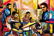 Jacob Lawrence Prints - Jammin n Rhythm Print by Everett Spruill