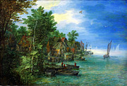 Delacroix Prints - Jan Brueghel the Elder Gezicht op een dorp aan een rivier 1604 Print by MotionAge Art and Design - Ahmet Asar
