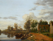 Delacroix Prints - Jan van der Heyden  A country house on the Vliet near Delft c 1660 Print by MotionAge Art and Design - Ahmet Asar