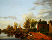 Delacroix Prints - Jan van der Heyden  A country house on the Vliet near Delft Print by MotionAge Art and Design - Ahmet Asar