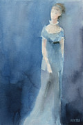 Author Paintings - Jane Austen Watercolor Painting Art Print by Beverly Brown Prints
