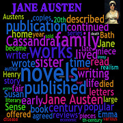 Word Cloud Prints - Jane Austen Word Cloud Print by Philip Ralley