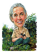 Caricature Paintings - Jane Goodall by Art