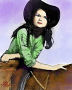 Cowgirl Prints Paintings - Janell by Toyah Taylor