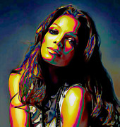 Print On Canvas Digital Art Framed Prints - Janet Jackson Framed Print by Byron Fli Walker