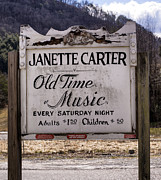 Music Time Posters - Janette Carter Old Time Music Admission Sign Poster by Dion Wiles