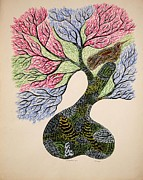 Jangarh Shyam Paintings - Jangarhs Tree Of Life by Jangarh Singh Shyam