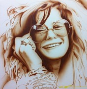 Musician Framed Paintings - Janis by Christian Chapman Art