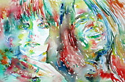 Singer Paintings - JANIS JOPLIN and GRACE SLICK WATERCOLOR PORTRAIT by Fabrizio Cassetta