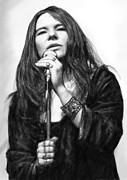 Janis Joplin Drawings - Janis joplin art drawing sketch portrait by Kim Wang