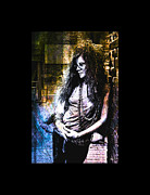 Rock N Roll Digital Art - Janis Joplin - Gold by Absinthe Art  By Michelle Scott