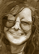 Chromatic Painting Prints - Janis Joplin Gold Print by Michele Engling
