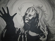 Janis Joplin Drawings - Janis Joplin by Jessie Simondi