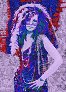 Hall Digital Art Framed Prints - Janis Joplin Mosaic Framed Print by Jack Zulli