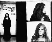 Janis Joplin Framed Prints - Janis Joplin Mugshot in Black and White Framed Print by Digital Reproductions