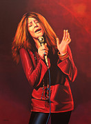 Red Art Painting Posters - Janis Joplin Poster by Paul  Meijering