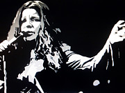 Lead Singer Painting Prints - Janis Joplin Pop Art Print by Ryszard Sleczka