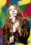 Late Mixed Media Prints - Janis Joplin - stylised drawing art poster Print by Kim Wang