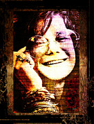Bracelets Digital Art Framed Prints - Janis Joplin - Upclose Framed Print by Absinthe Art  By Michelle Scott