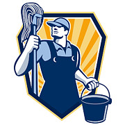 Cleaner Posters - Janitor Cleaner Hold Mop Bucket Shield Retro Poster by Aloysius Patrimonio