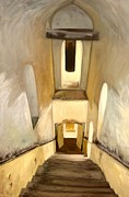 Deep Reflection Painting Posters - Jantar Mantar Staircase Poster by Mukta Gupta