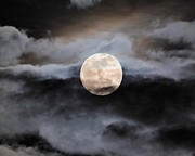 January Prints - January Full Moon With Clouds Print by Jai Johnson