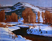 Rural Snow Scenes Originals - January on Diamond Fork by Doyle Shaw