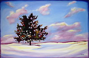 Drifting Snow Painting Prints - January Print by Sheila Diemert