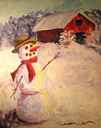 January Paintings - January Snowman by Susan Jones
