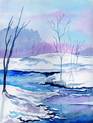 Winterscape Painting Originals - January Snowscape by Brenda Owen