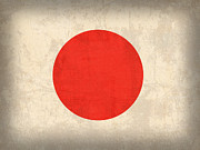 Japanese Mixed Media - Japan Flag Vintage Distressed Finish by Design Turnpike