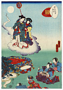 Woodcut Photo Framed Prints - Japan: Tale Of Genji Framed Print by Granger