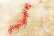 Japan Watercolor Map Print by Daniel Hagerman