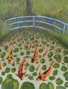 Koi Painting Posters - Japanes Bridge over Koi Pond in Giverny Claude Monet  Poster by Gordon Lavender