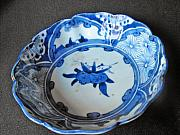 Antique Ceramics - Japanese Aritaware featuring pomegranate butterfly and figural design by Anonymous artist
